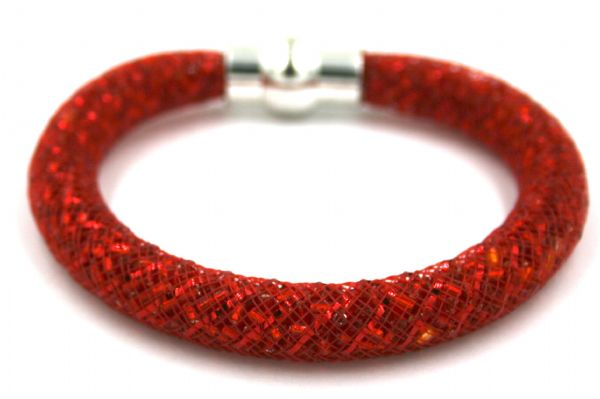 Starburst mesh bracelet kit - Red 184 beads with red mesh - Makes 5 bracelets MK005